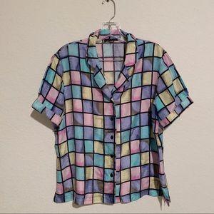 Vintage 90's Color block Pastel Button Up Shirt!